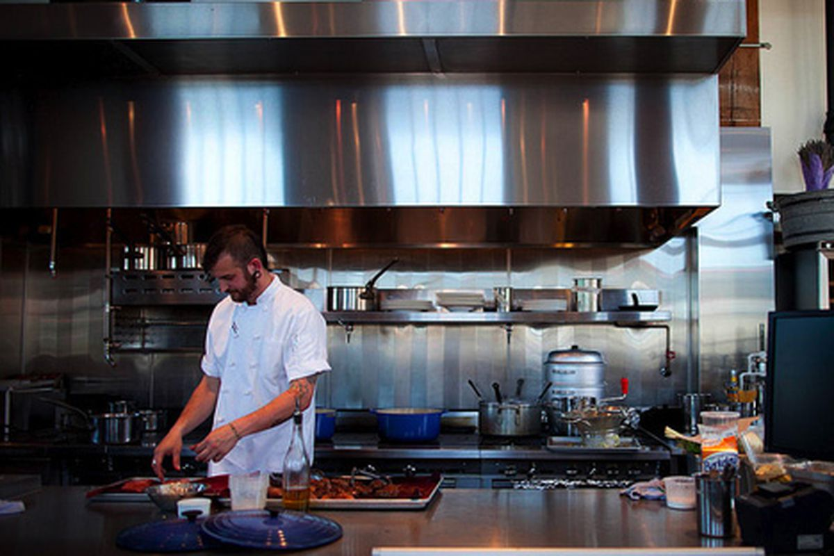 In the kitchen at Lafitte.