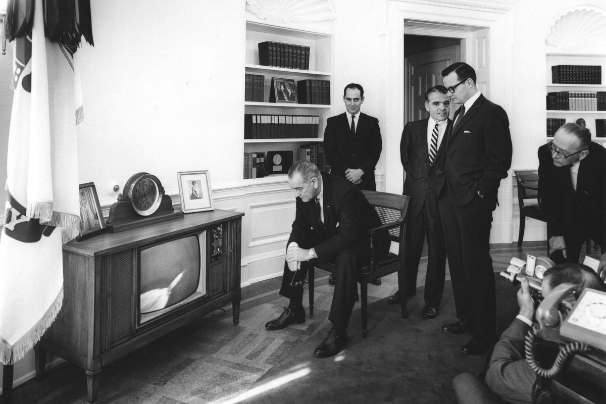 POTUS Lyndon Johnson and staff, when the term started to take off