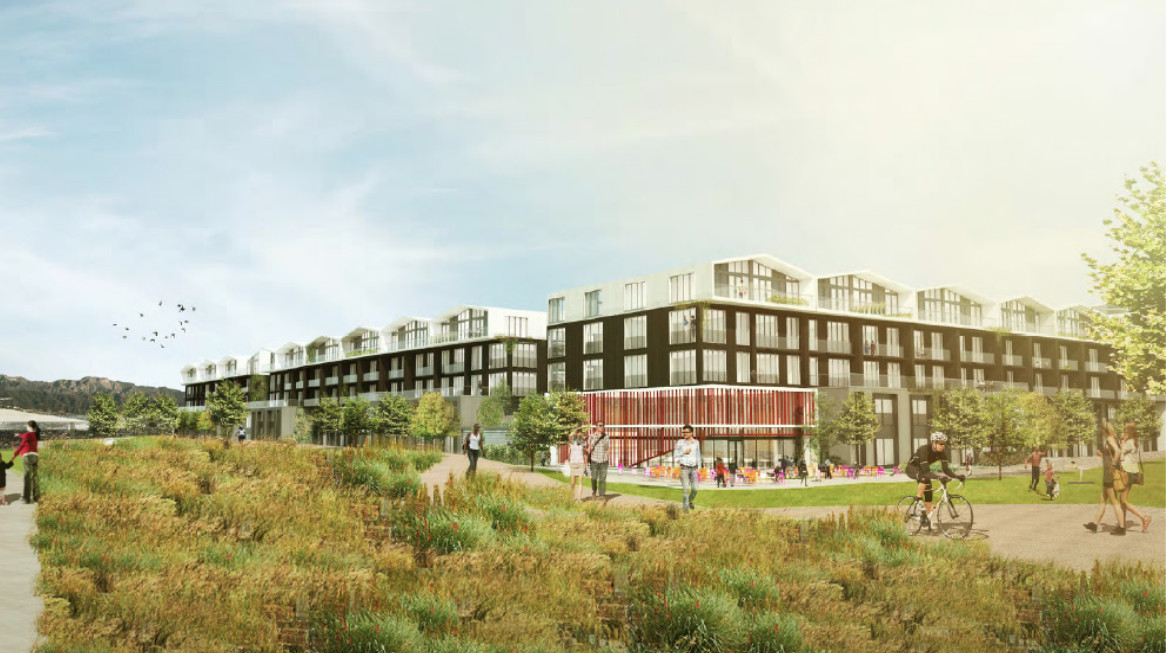A rendering of a low-rise residential building with landscaping and people milling around.