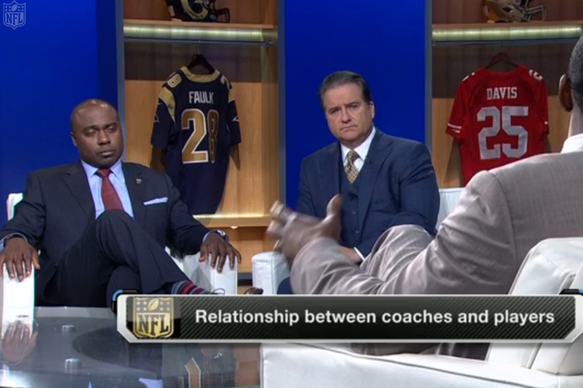Marshall Faulk (left) and Steve Mariucci on gays and understanding in the locker room.