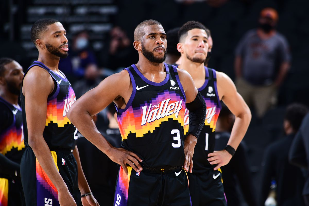 Chris Paul of the Phoenix Suns looks on during the game against the Brooklyn Nets on February 16, 2021 at Talking Stick Resort Arena in Phoenix, Arizona.