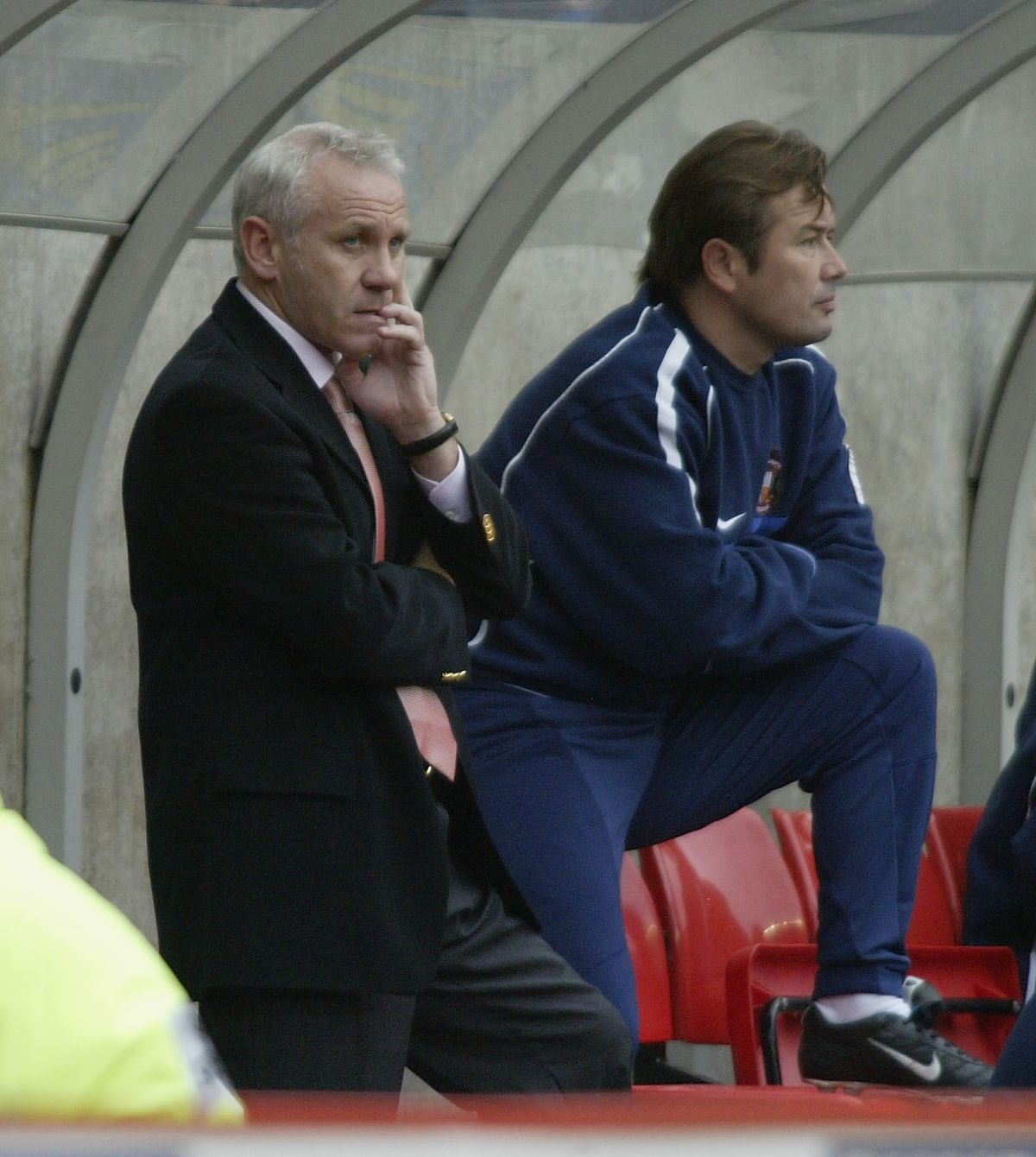 Peter Reid the manager of Sunderland and his assistant Adrian Heath
