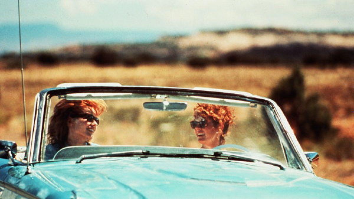 Thelma (Geena Davis) and Louise (Susan Sarandon) in their blue convertible