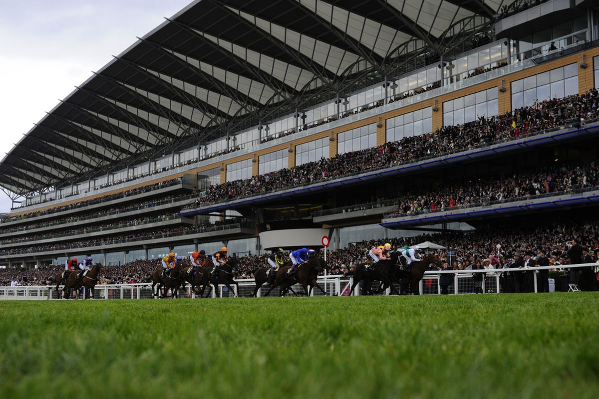 ASCOT, ENGLAND - JUNE 23: Luke Nolen riding Black Caviar C, (salmon/black spots) win the Diamond Jubilee Stakes during day 5 of Royal Ascot at Ascot racecourse on June 23, 2012 in Ascot, England. (Photo by Alan Crowhurst/Getty Images)