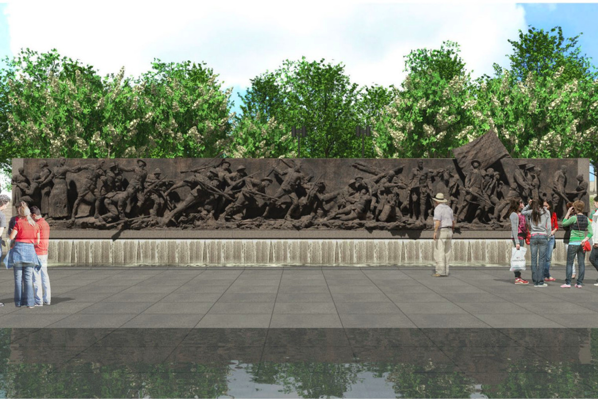 A rendering of a sculptural wall showing soldiers. The wall has a fountain and is located in a pool.