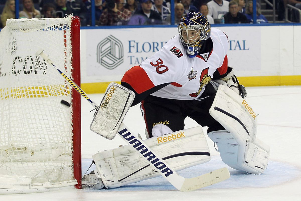 TAMPA, FL - MARCH 06: Ben Bishop #30 of the Ottawa Senators makes a first period save against the Tampa Bay Lightning at the Tampa Bay Times Forum on March 6, 2012 in Tampa, Florida.  (Photo by Bruce Bennett/Getty Images)