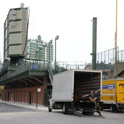 Mon 5:08 p.m. Trucks for the private ballpark event, parked outside of Gate K -