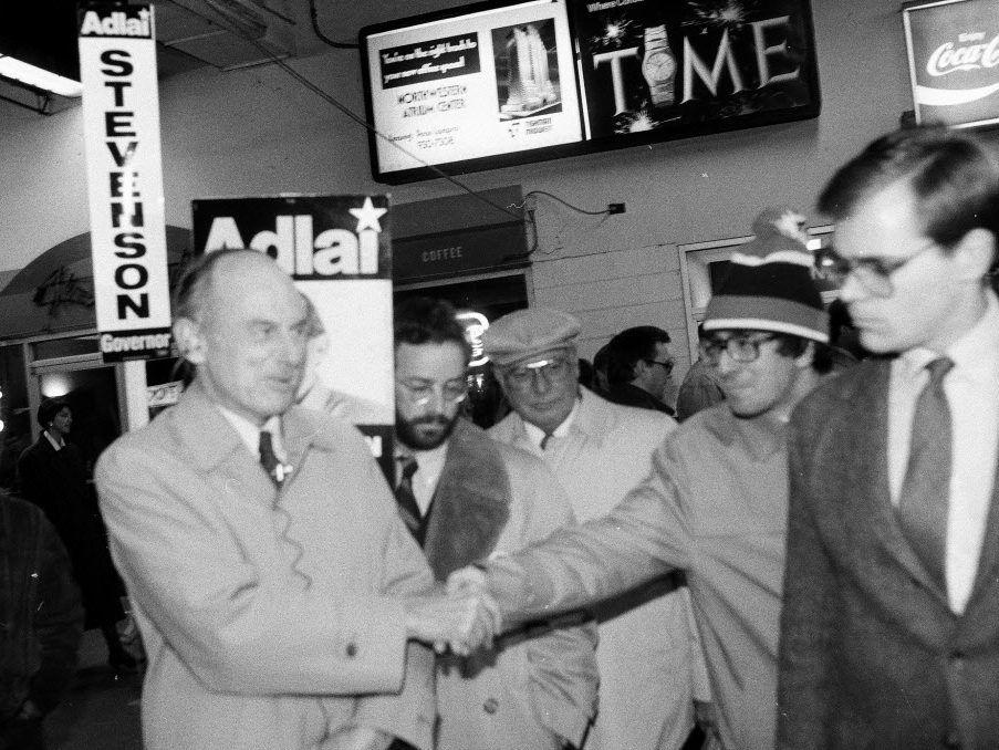 Chicago Northwestern Station, where Adlai Stevenson shaking hands for commuter votes in 1986. Sun-Times File Photo.