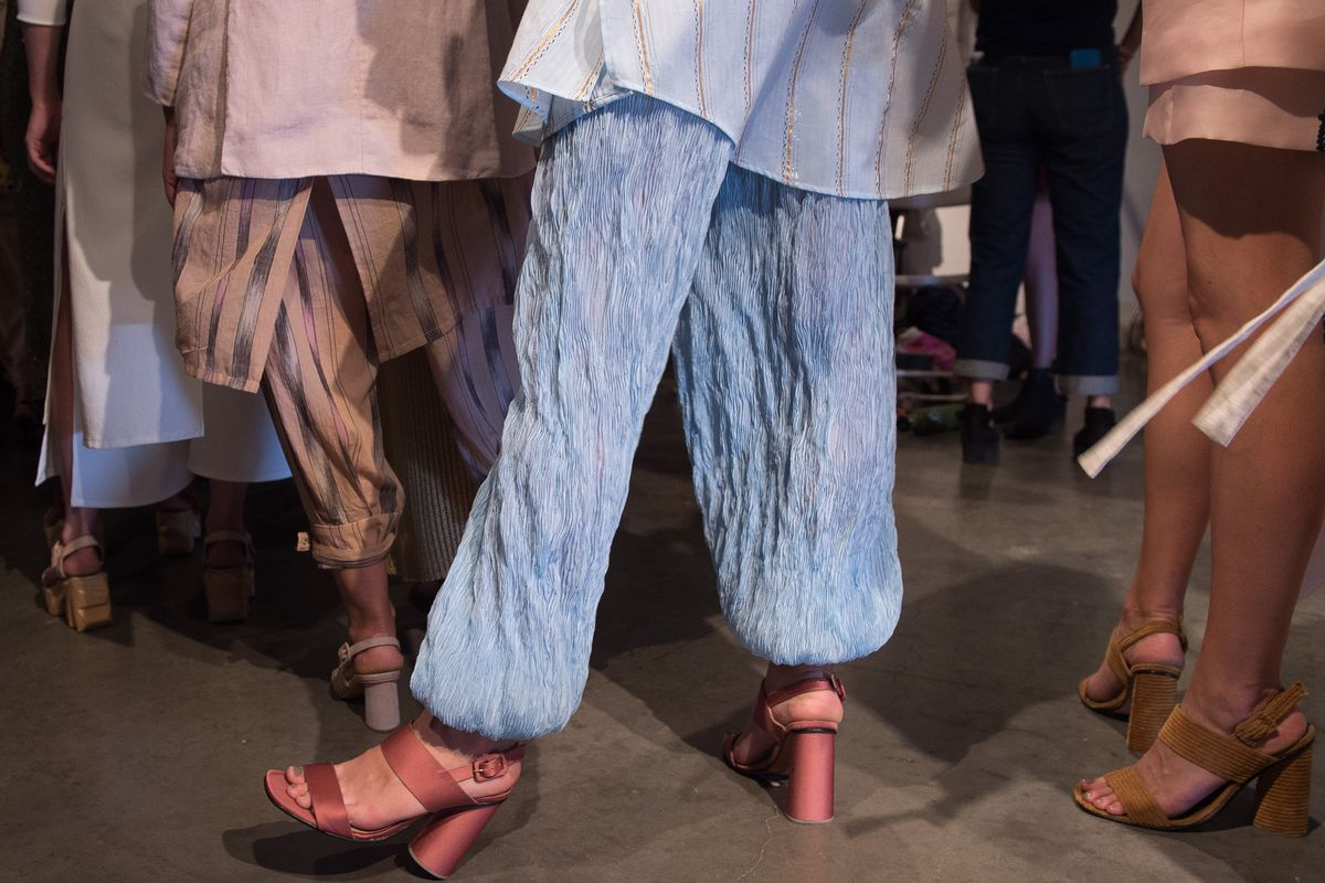 Backstage at Rachel Comey spring 2016