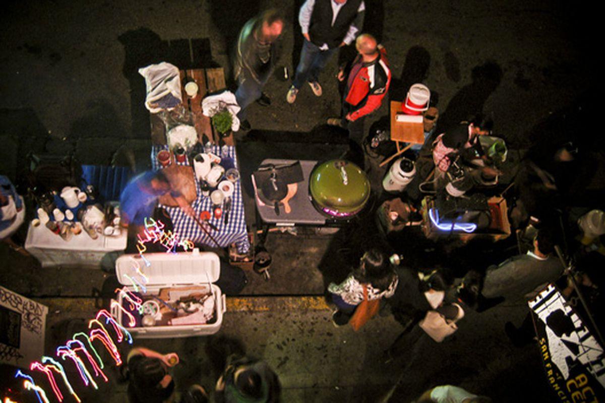 Bird's eye view of street vendors on Capp.