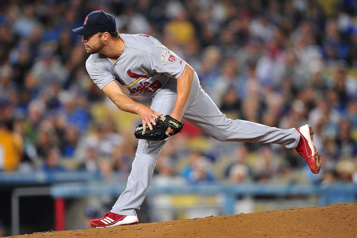 May 19, 2012; Los Angeles, CA, USA; St. Louis Cardinals starting pitcher Jake Westbrook (35) pitches in the fifth inning against the Los Angeles Dodgers at Dodger Stadium.  Mandatory Credit: Gary A. Vasquez-US PRESSWIRE