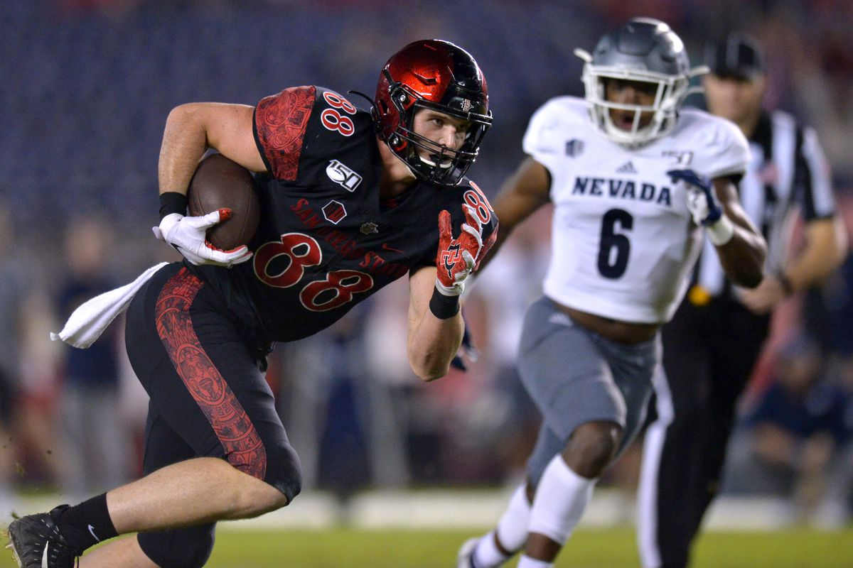 San Diego State tight end Daniel Bellinger is defended by Nevada defensive back Tyson Williams during the first quarter at SDCCU Stadium.
