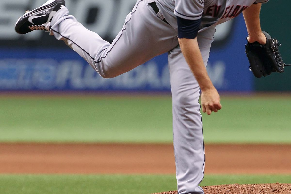 July 19, 2012; St. Petersburg, FL, USA; Cleveland Indians relief pitcher Jeremy Accardo (57) throws a pitch against the Tampa Bay Rays at Tropicana Field. Tampa Bay Rays defeated the Cleveland Indians 6-0. Mandatory Credit: Kim Klement-US PRESSWIRE