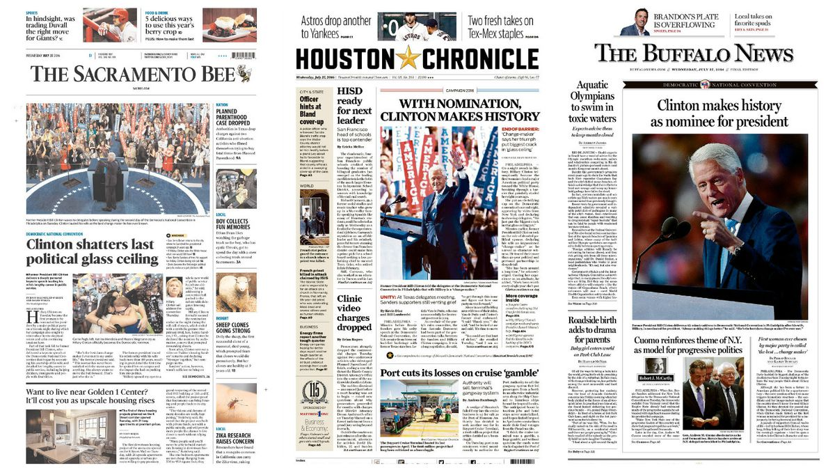 hillary clinton just won a presidential nomination. these newspapers
