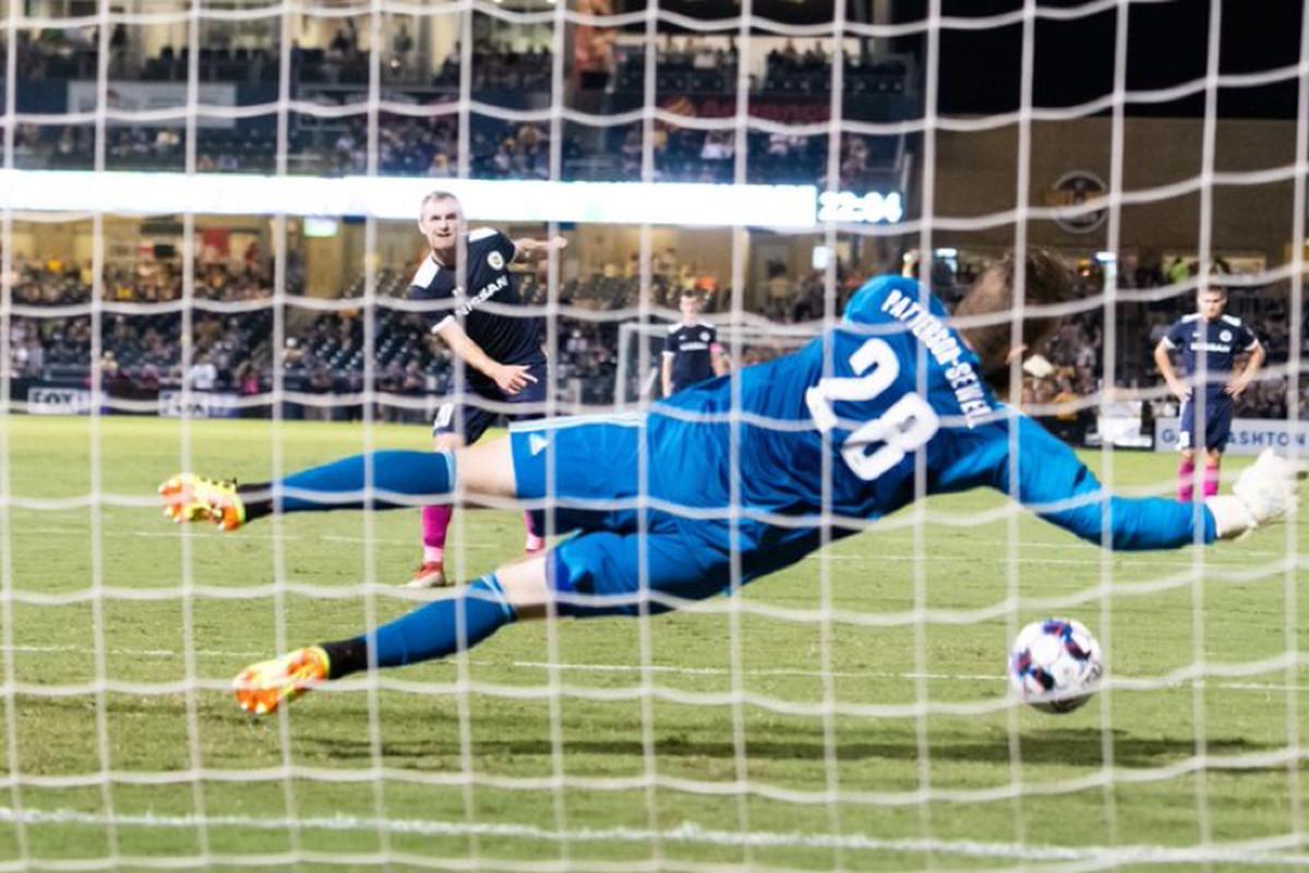 USL Photo - Toronto FC II goalkeeper Caleb Patterson-Sewell denies Nashville SC's Matt LaGrassa from the penalty spot in a 2-2 draw