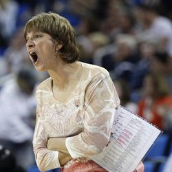 Nebraska head coach Connie Yori directs her team during the first half of a second-round NCAA women's college basketball game against BYU on Monday, March 24, 2014, in Los Angeles. (AP Photo/Jae C. Hong)