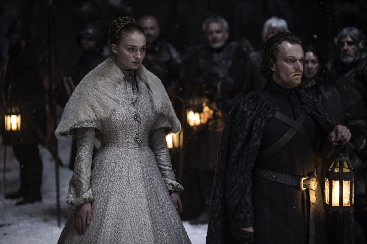 Sansa walks down the aisle to complete her arranged marriage to Ramsay Bolton.