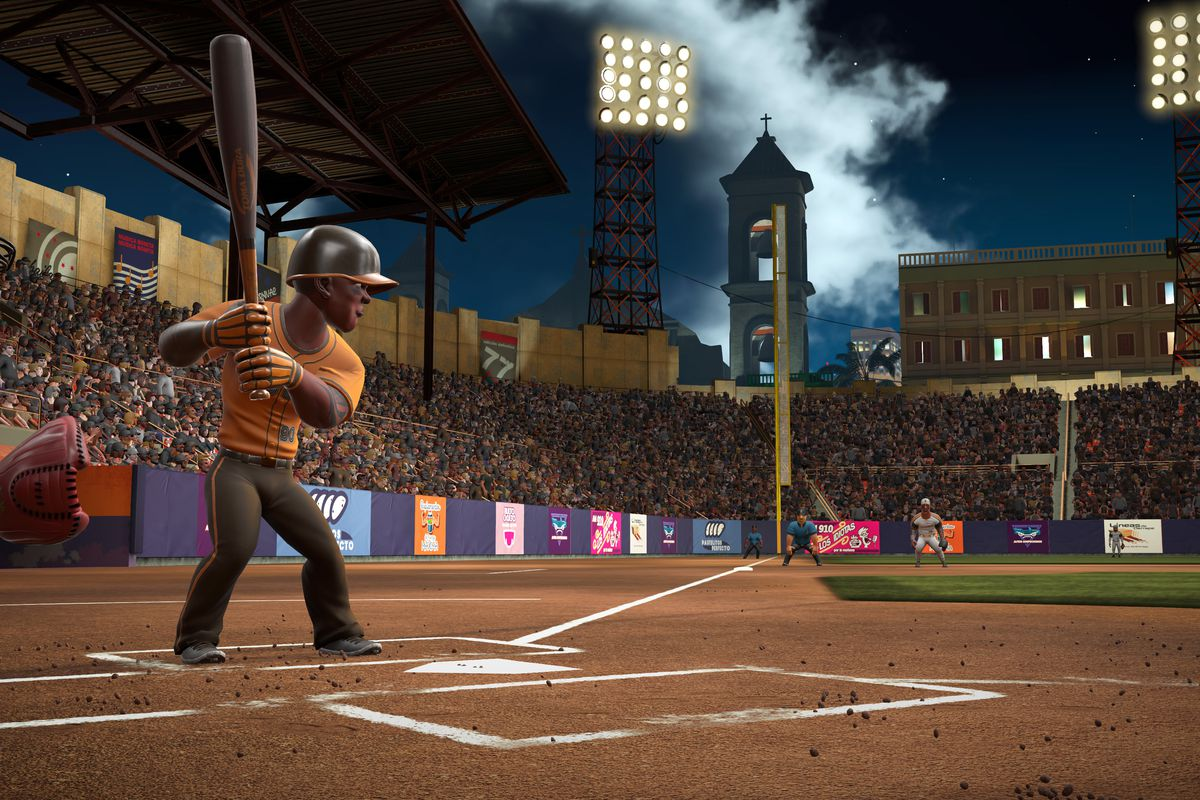 a black right-handed hitter standing in the batter's box during a night game in Super Mega Baseball 3