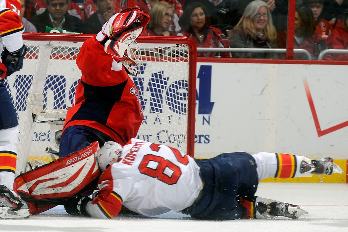 WASHINGTON, DC - FEBRUARY 07:  Tomas Kopecky #82 of the Florida Panthers crashes into Tomas Vokoun #29 of the Washington Capitals at the Verizon Center on February 7, 2012 in Washington, DC.  (Photo by Greg Fiume/Getty Images)
