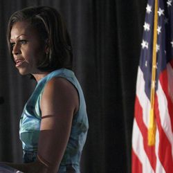 First lady Michelle Obama speaks during a Human Rights Campaign luncheon while attending the Democratic National Convention in Charlotte, N.C., Wednesday, Sept. 5, 2012.