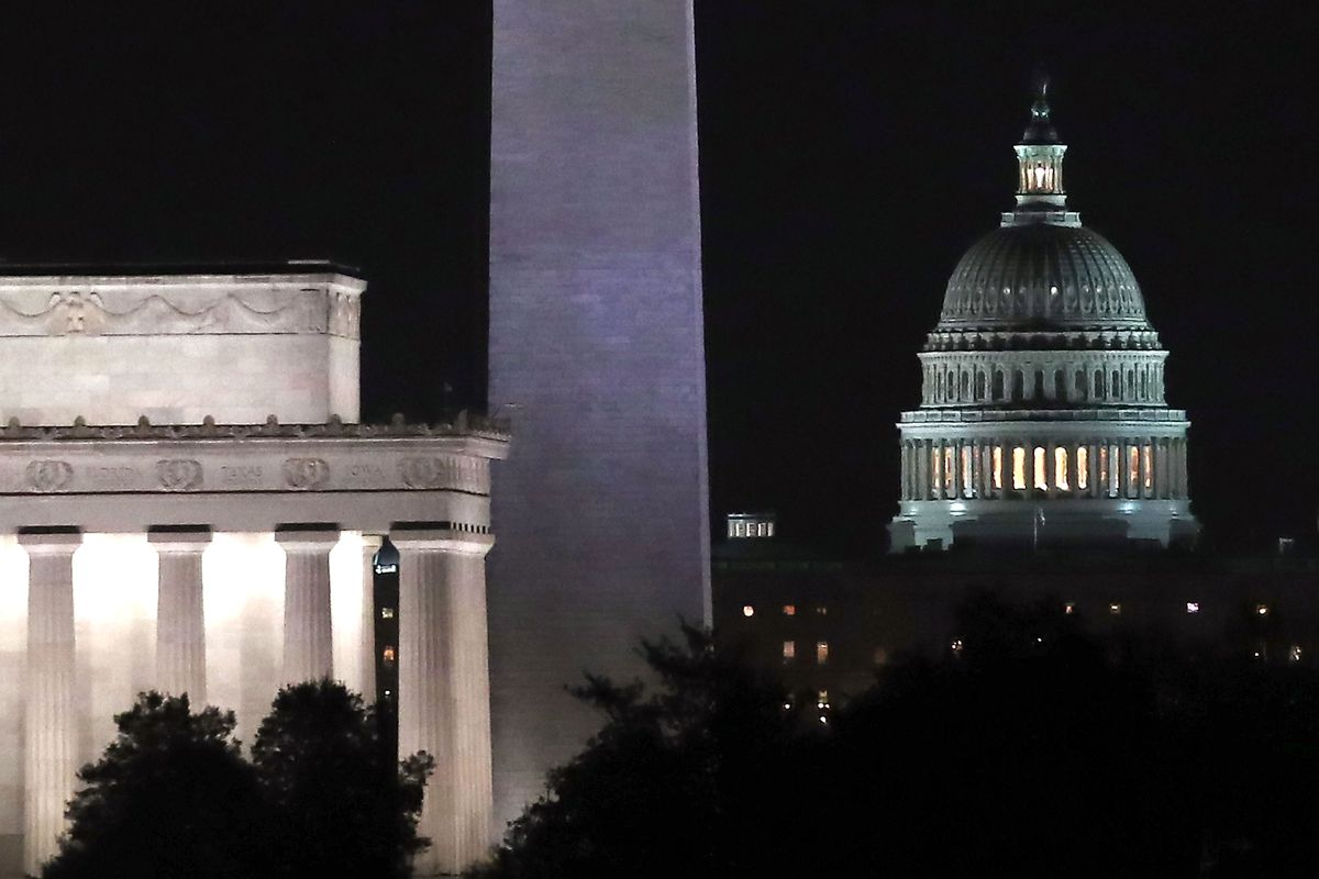 The Lincoln Memorial, the Washington Monument and the Capitol building
