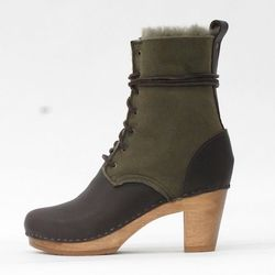 """No.6 8"""" Shearling Lace Up Boot in Olive/Fudge, $235 (originally $430)"""