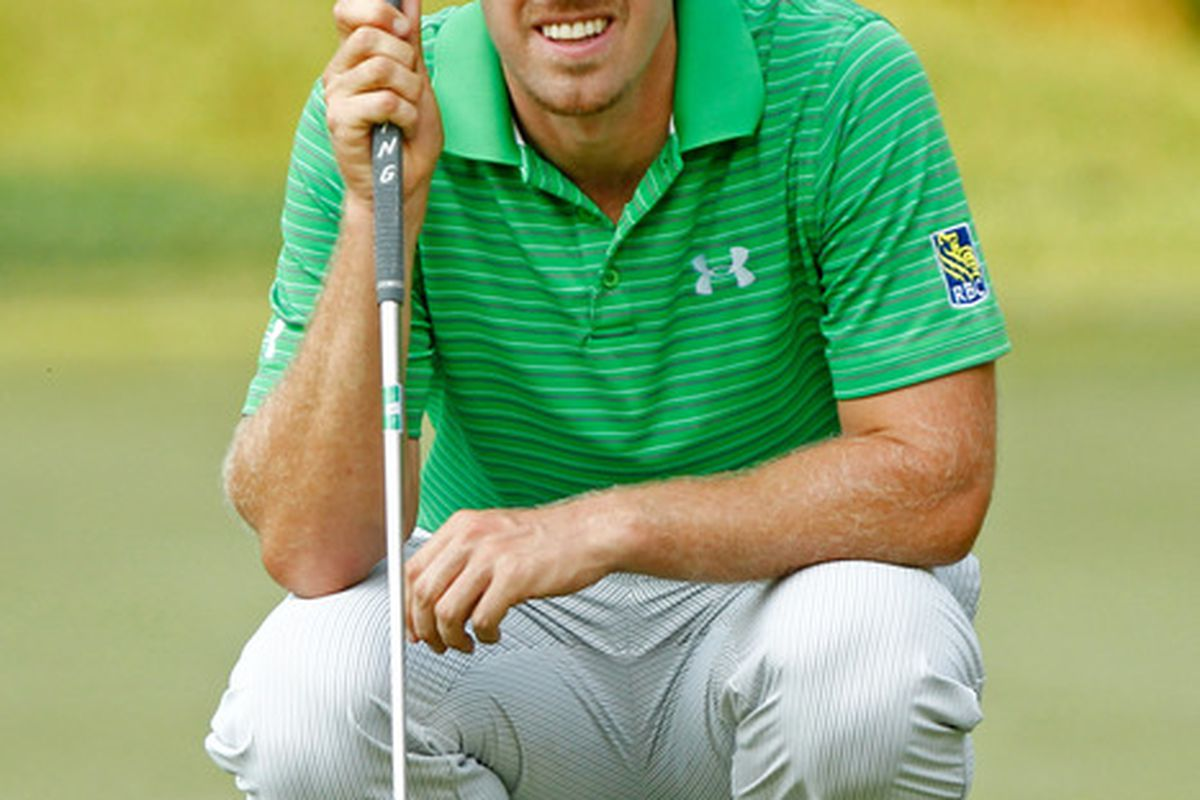 June 30, 2012; Bethesda, MD, USA; Hunter Mahan reads the 13th green during the third round of the AT&T National at Congressional Country Club. Mandatory Credit: Debby Wong-US PRESSWIRE