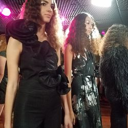 Paul Mitchell stylists used a crimping effect made entirely with clips for the hair, while NARS artists created the retro metallic makeup looks.