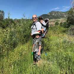 Shad Stevens on a hike with his children.