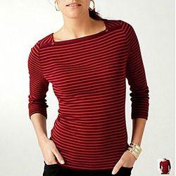 Stripe 3/4 Length Top, $15