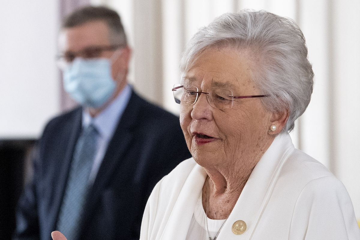Alabama Gov. Kay Ivey gives a COVID-19 update during a news conference at the Alabama Capitol Building in Montgomery, Ala., on Thursday March 4, 2021.