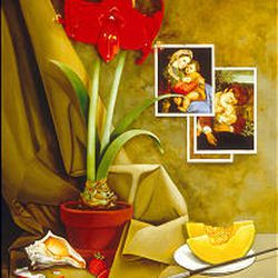 """""""Still Life With Caravaggio and Raphael"""" (oil on canvas, 23 by 29 inches)."""