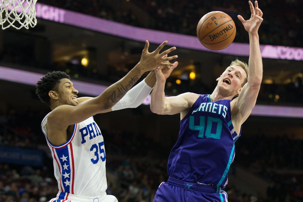 A 76ers basketballer uses the power of persuasion, if not brute force, to remove the titular object from the hands of another of Charlotte's buffoons.