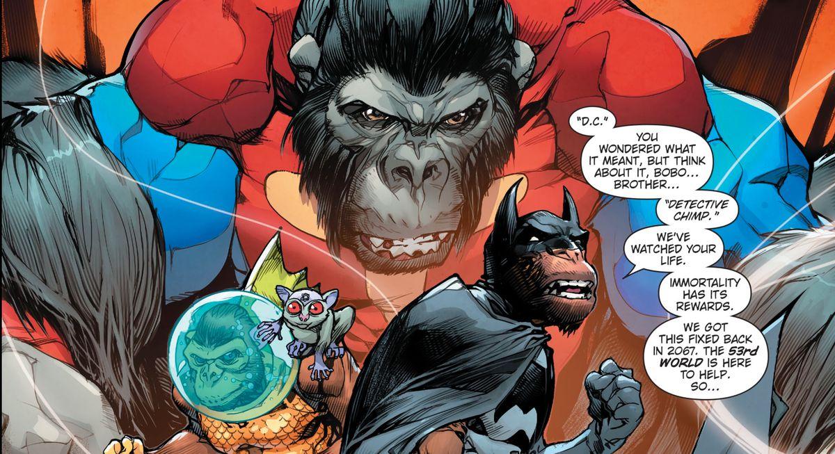 Ape versions of Batman, Aquaman, Superman, and the Atom, in Dark Knights Rising: The Wild Hunt #1, DC Comics (20tk).