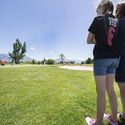 Joe Summerhays' family watches from behind the putting green at the eighth hole during the third day of the 78th Provo Open at East Bay Golf Course in Provo Saturday, June 10, 2017.
