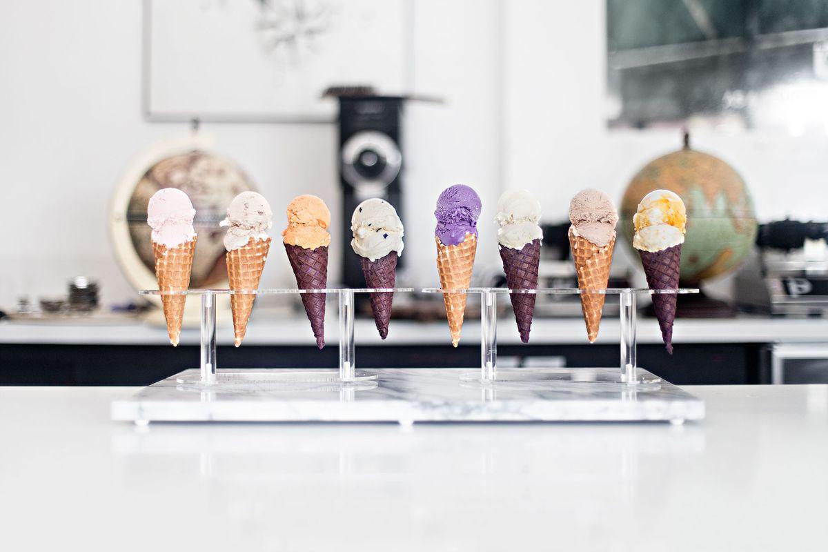 Ice cream from Wanderlust Creamery on cones.