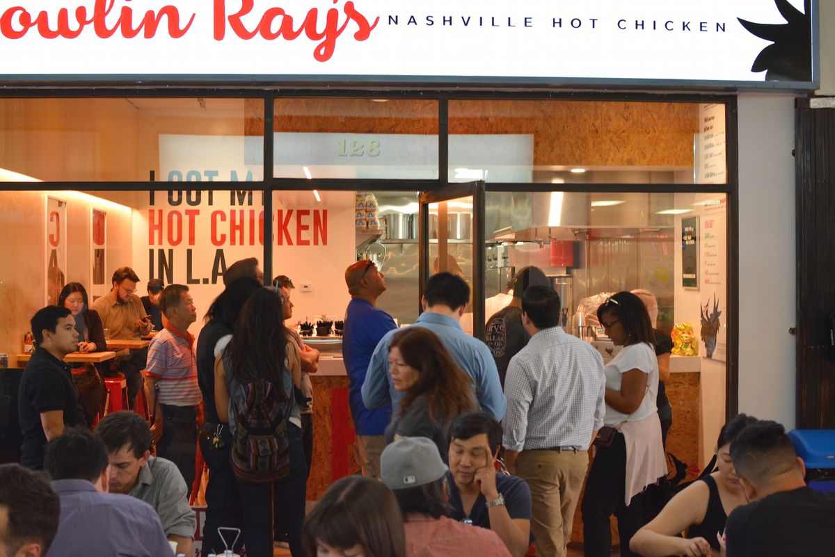 Crowds in front of Howlin' Ray's hot chicken in Chinatown, Los Angeles.