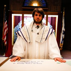 Rabbi Samuel Spector poses for a portrait before prerecording the Rosh Hashanah and Yom Kippur service at Congregation Kol Ami in Salt Lake City on Sunday, Aug. 30, 2020.