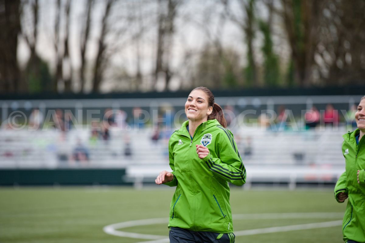 """Hope Solo Warming Up Prior to SPU Game. Come early, see more.(Photo by <a href=""""http://www.facebook.com/JaneGPhotography"""" target=""""new"""">Jane Gershovich</a>)"""