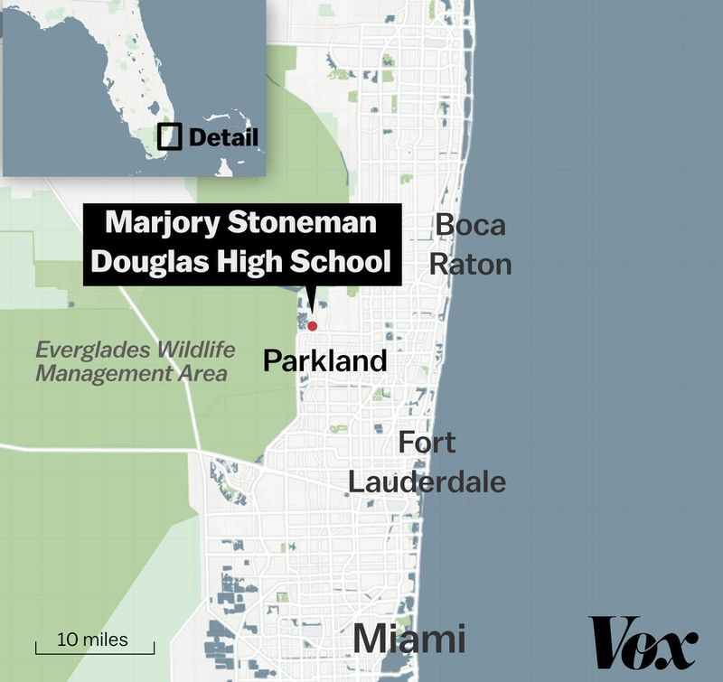 A map of the Florida high school shooting.