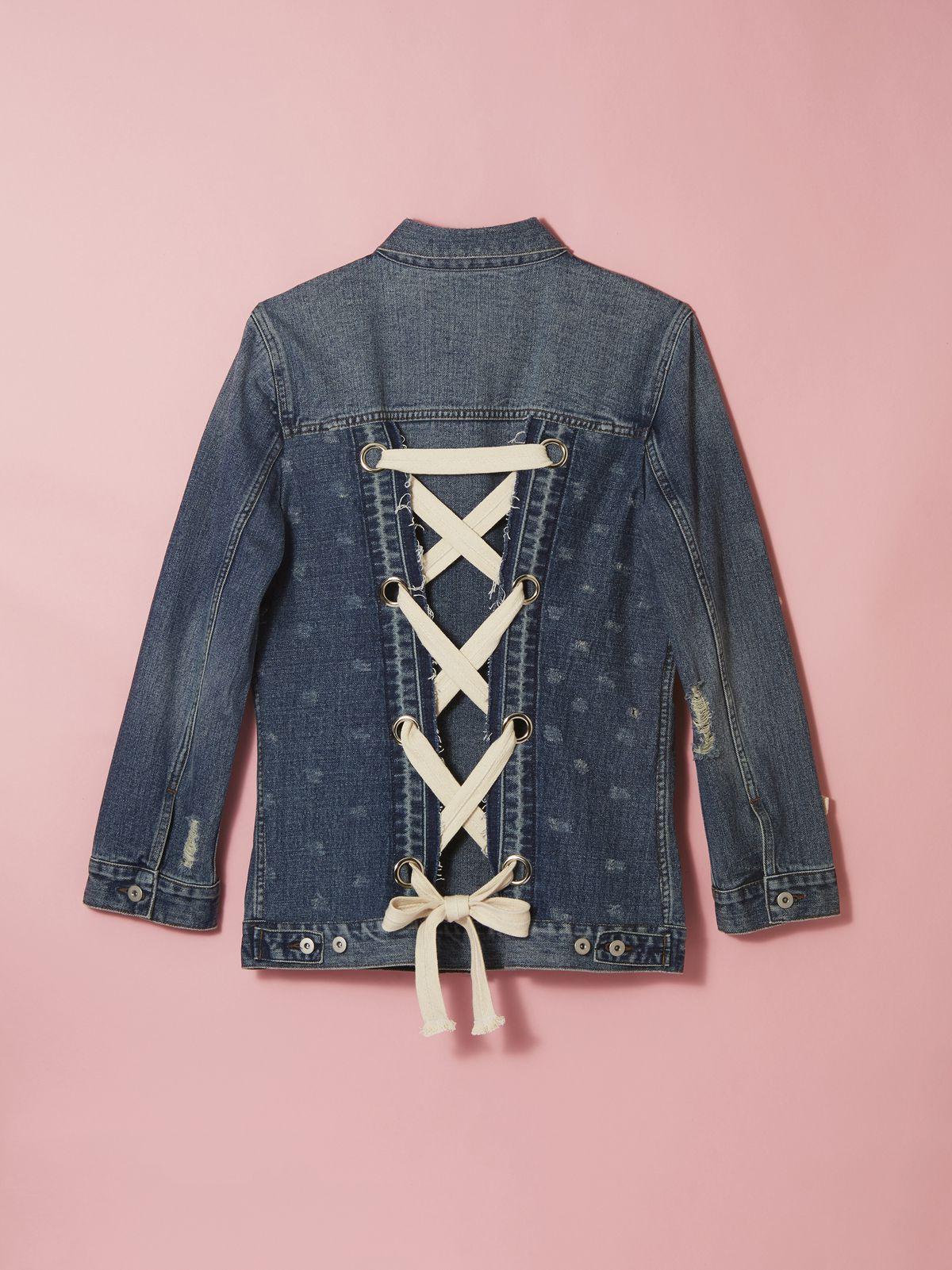 Bebe Rexha x Gilt Denim Lace-Up Jacket, $399
