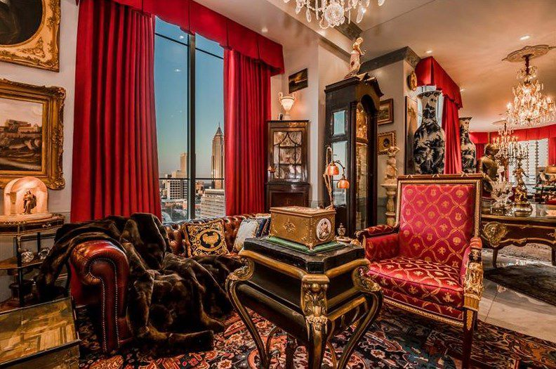 A downtown Atlanta penthouse decorated like an antique shop.