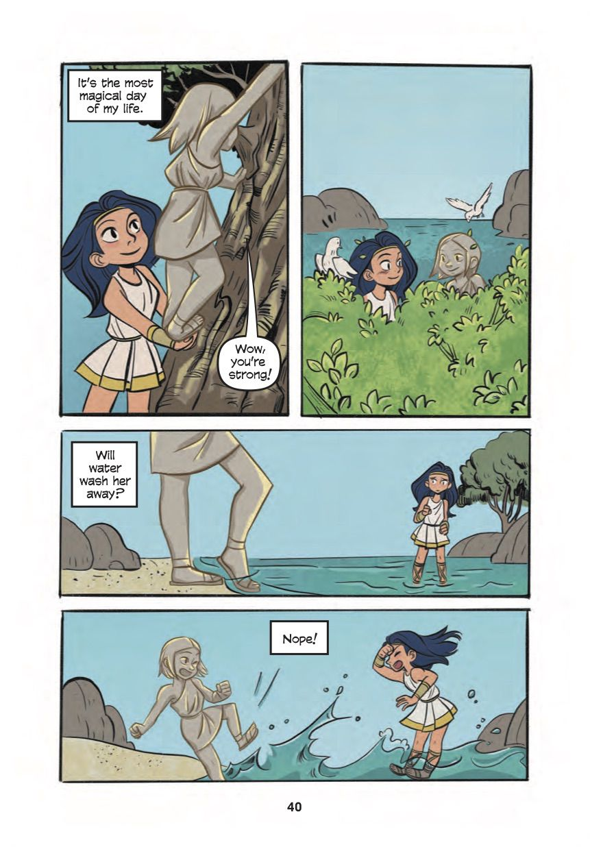 Diana and her new friend climb trees and play on the shore, Diana, Princess of the Amazons, DC Comics (2020).