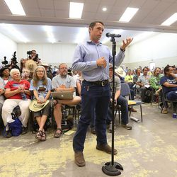 Congressional representative Casey Snider makes comments during a meeting in Bluff with Interior Secretary Sally Jewell as she visits southern Utah on Saturday, July 16, 2016.