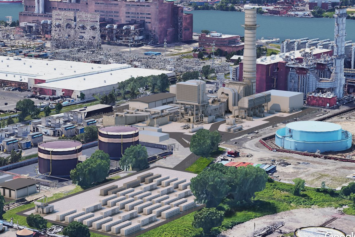 A rendering of a proposed peaker plant in Astoria.
