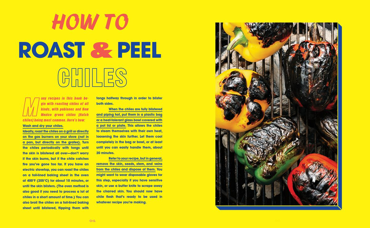 Chile roasting and peeling instructions from The Austin Cookbook