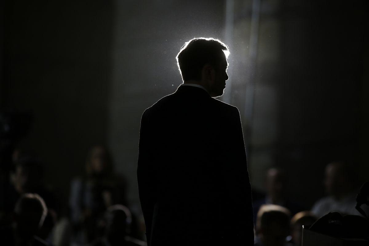 Tesla CEO Elon Musk in silhouette