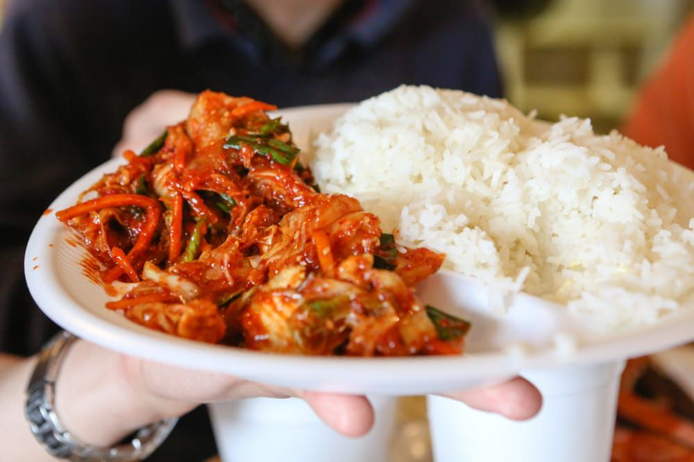 Kimchi and jasmine rice from Pit Stop Bar-B-Q
