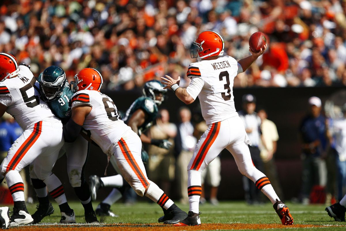 Sep 9, 2012; Cleveland, OH, USA; Cleveland Browns quarterback Brandon Weeden (3) makes a throw against the Philadelphia Eagles during the second half at Cleveland Browns Stadium. Mandatory Credit: Raj Mehta-US PRESSWIRE