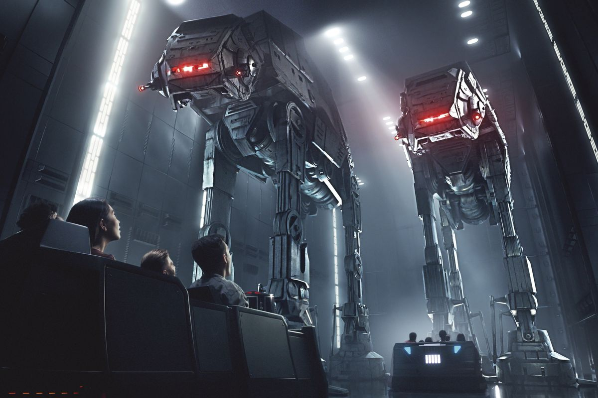 """This rendering released by Disney and Lucasfilm shows people on the planned Star Wars: Rise of the Resistance attraction, part of """"Star Wars: Galaxy's Edge."""" The 14-acre area is set to open this summer at the Disneyland Resort in Anaheim, California, then"""